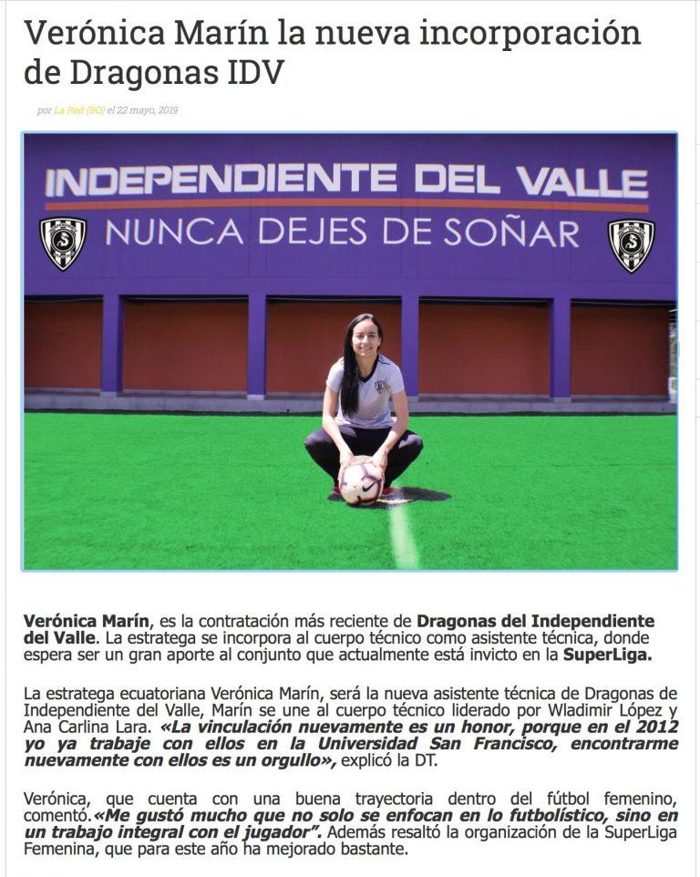 2019 06 03 Veronica Marin Independiente del Valle Prensa MBP School of coaches