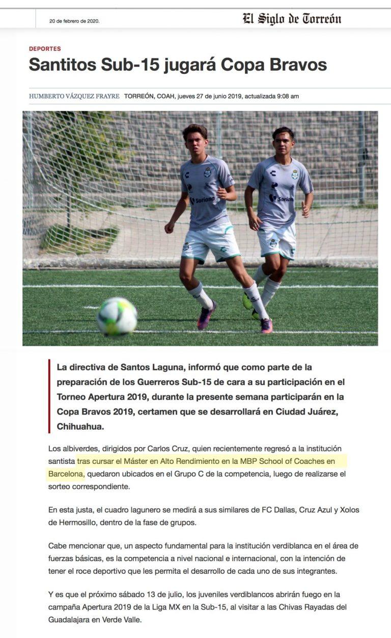2020 02 16 El Siglo de Torreon Santos Laguna scaled 1 Prensa MBP School of coaches